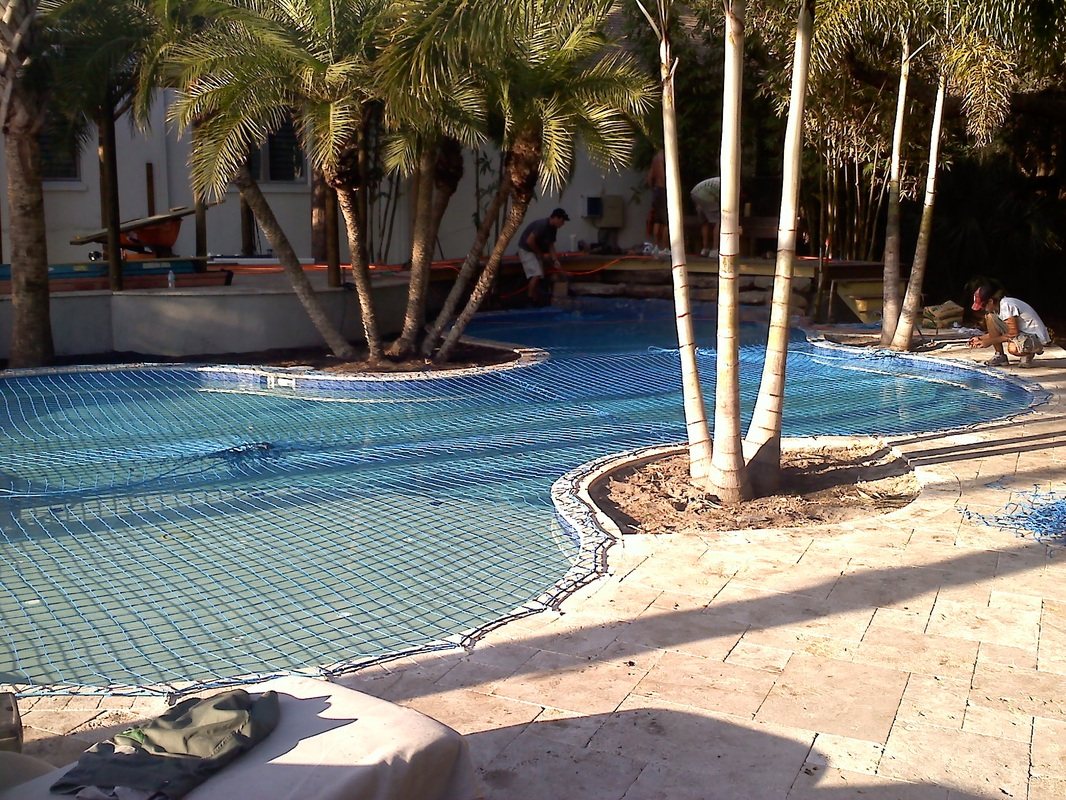 Large pool safety net installed in Clearwater Fl